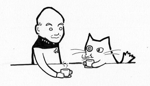 Picard + Bionicat by curiouszoology
