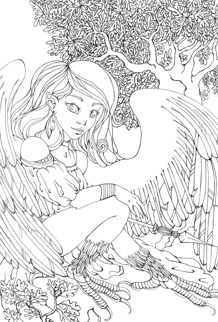 mythical creatures coloring pages - harpy lineart by cathm on deviantart