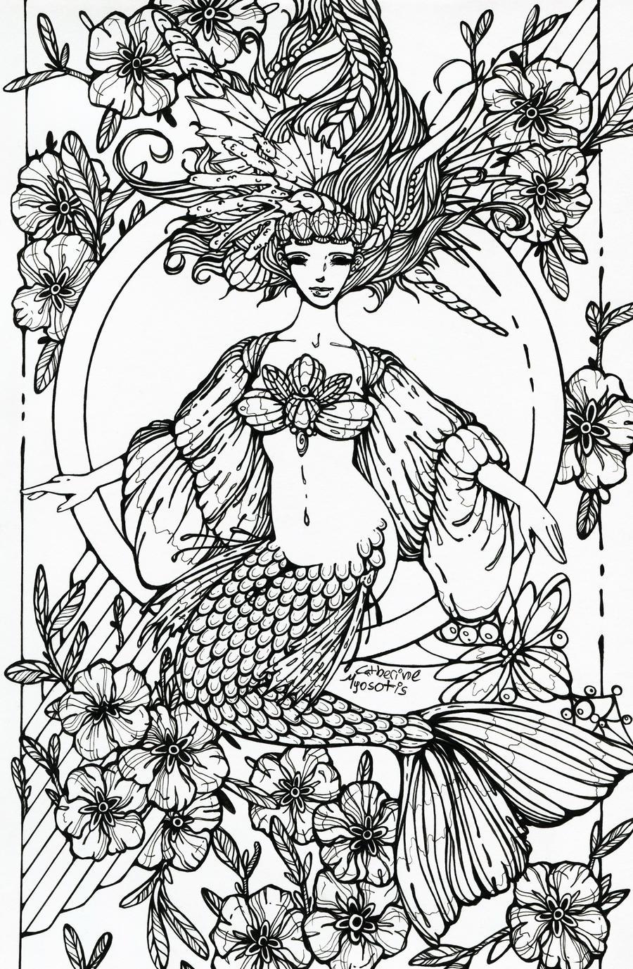 Megara Mermaid Line-attempt by TheRaineDrop on DeviantArt |Mermaid Line Drawing