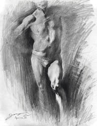 pencil sketch - male imitation by jcevil