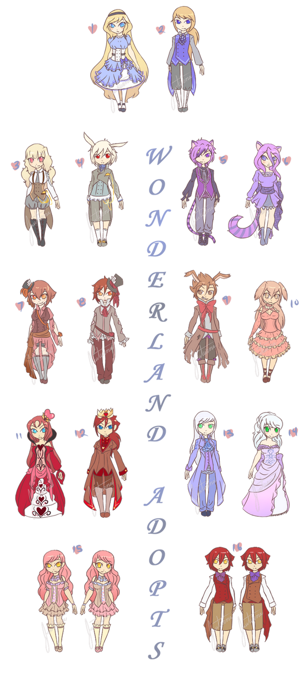 Chibi Set2 [Wonderland Adopts] - CLOSED by Jauturna