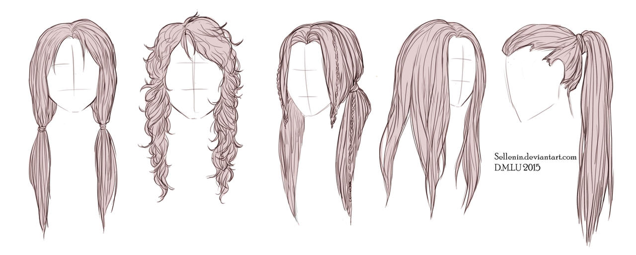 Line Drawing Styles : Long hairstyles by sellenin on deviantart