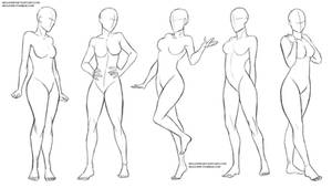 Female standing poses by Sellenin