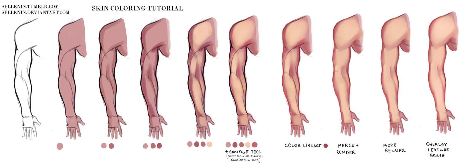Skin coloring tutorial by Sellenin