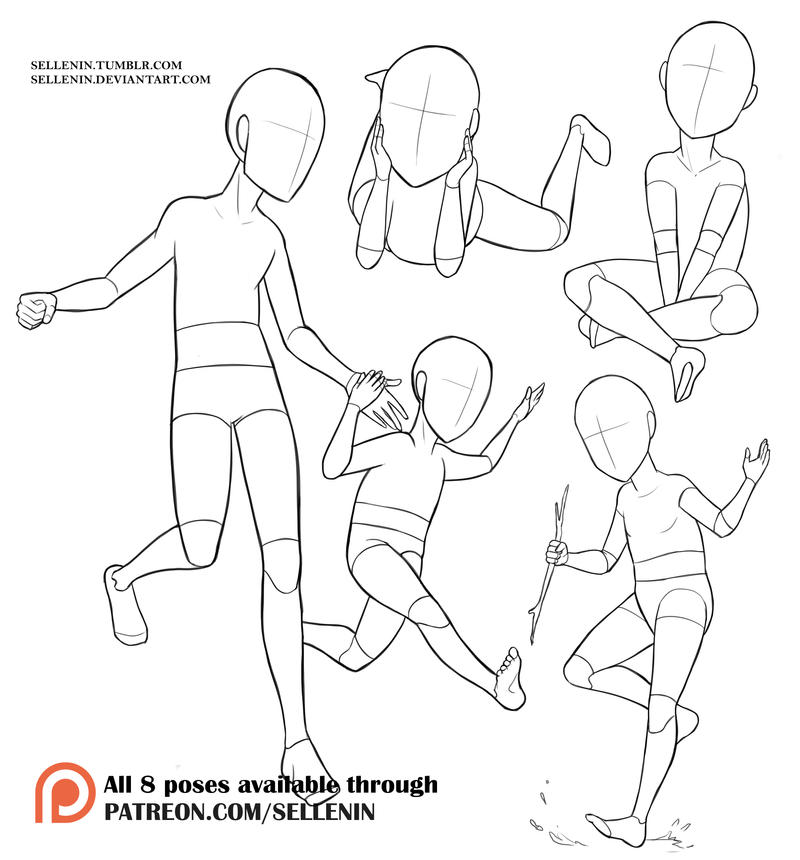how to draw sitting positions