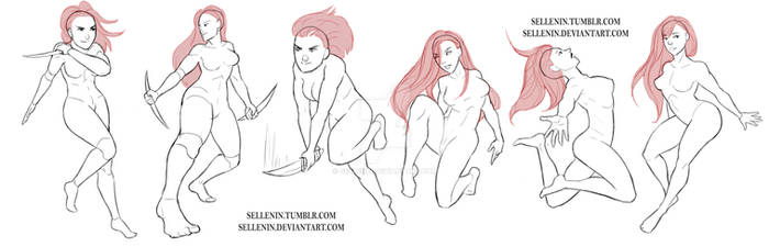 Random female poses 2 by Sellenin