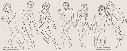 OC Pose Sketches by Sellenin