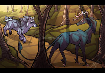 Commission - Meeting in the forest by kuroya-ken