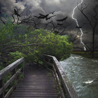 Stormy Night on River Side by badiu27