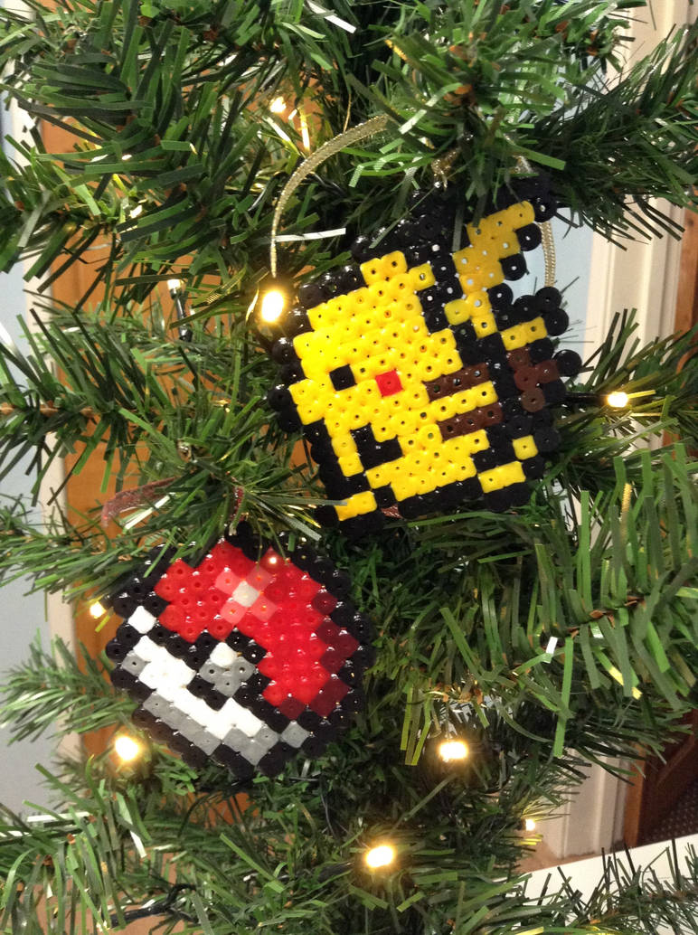 Pikachu Christmas Ornament.Pokeball And Pikachu Hama Christmas Ornaments By Dogtorwho