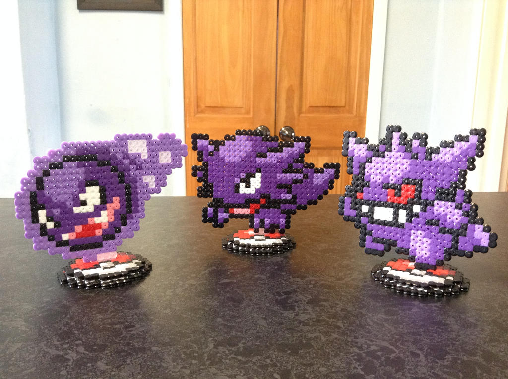 Gastly, Haunter and Gengar Pokemon- Hama Stands by Dogtorwho
