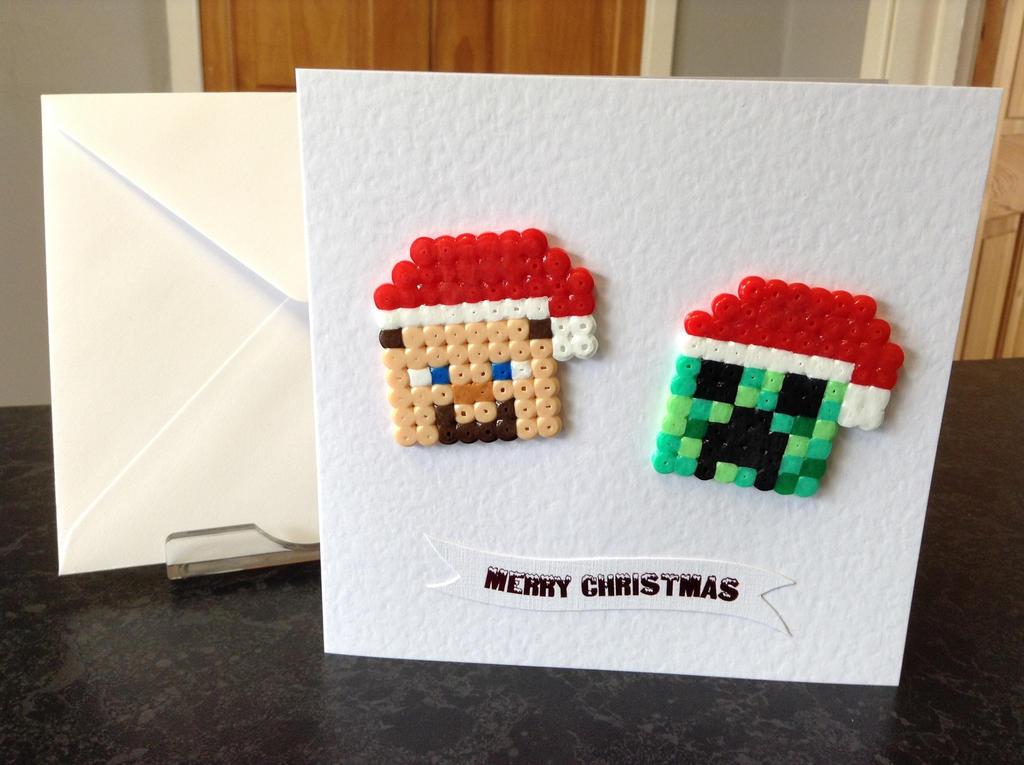 Christmas Hama Beads.Christmas Hama Bead Card Minecraft By Dogtorwho On Deviantart