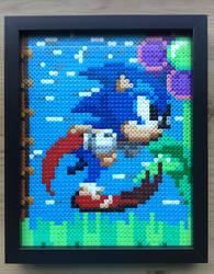 Framed Running Sonic the Hedgehog- Hama Bead Art by Dogtorwho