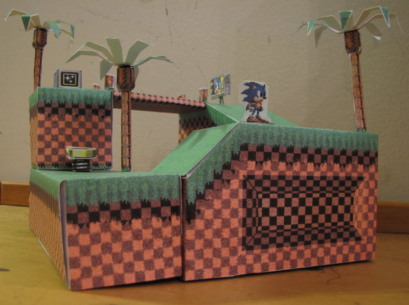 Green Hill Zone - The Papercraft by technodrumguy
