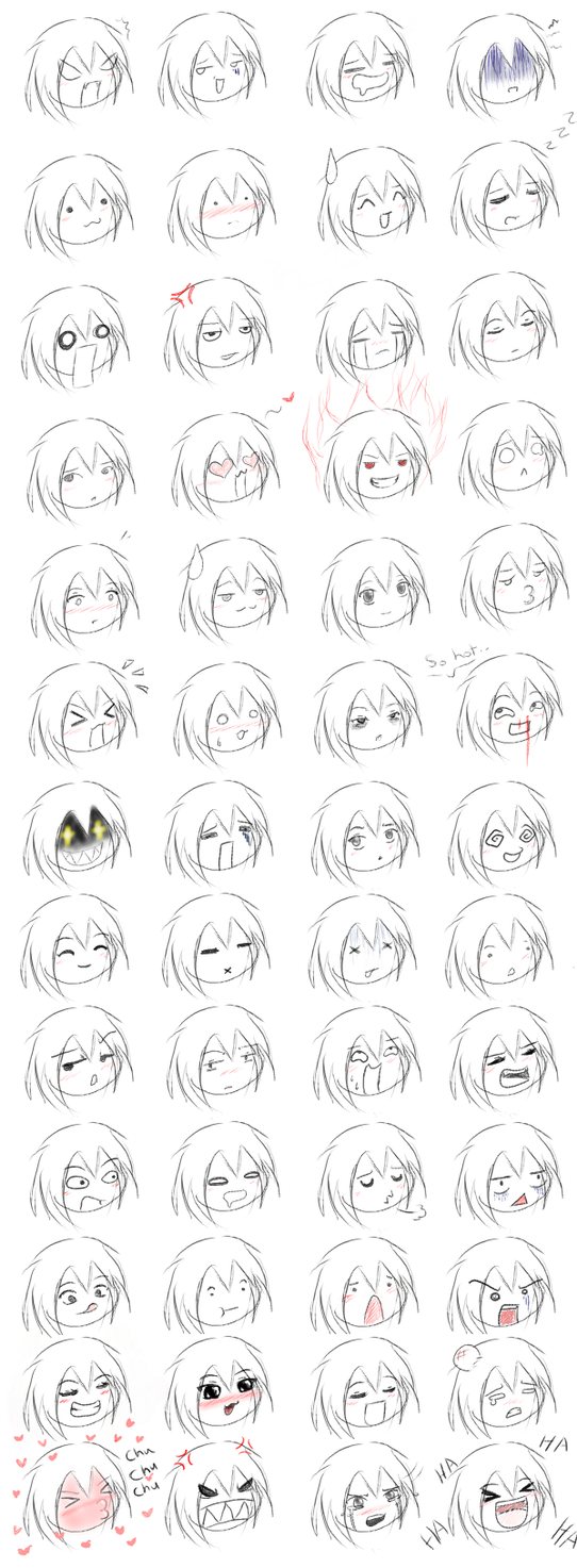52 anime expressions by Jemstonecat
