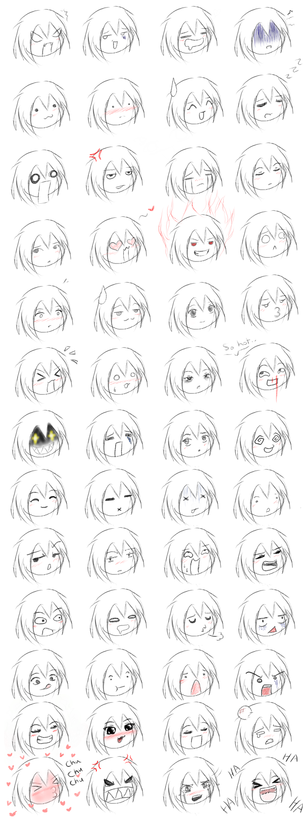 52 anime expressions by Jemstonecat on DeviantArt