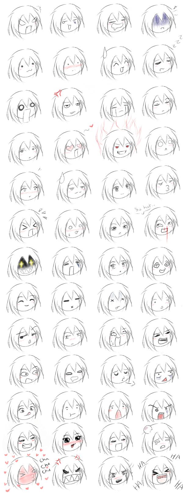 Как рисовать эмоции чибиков.