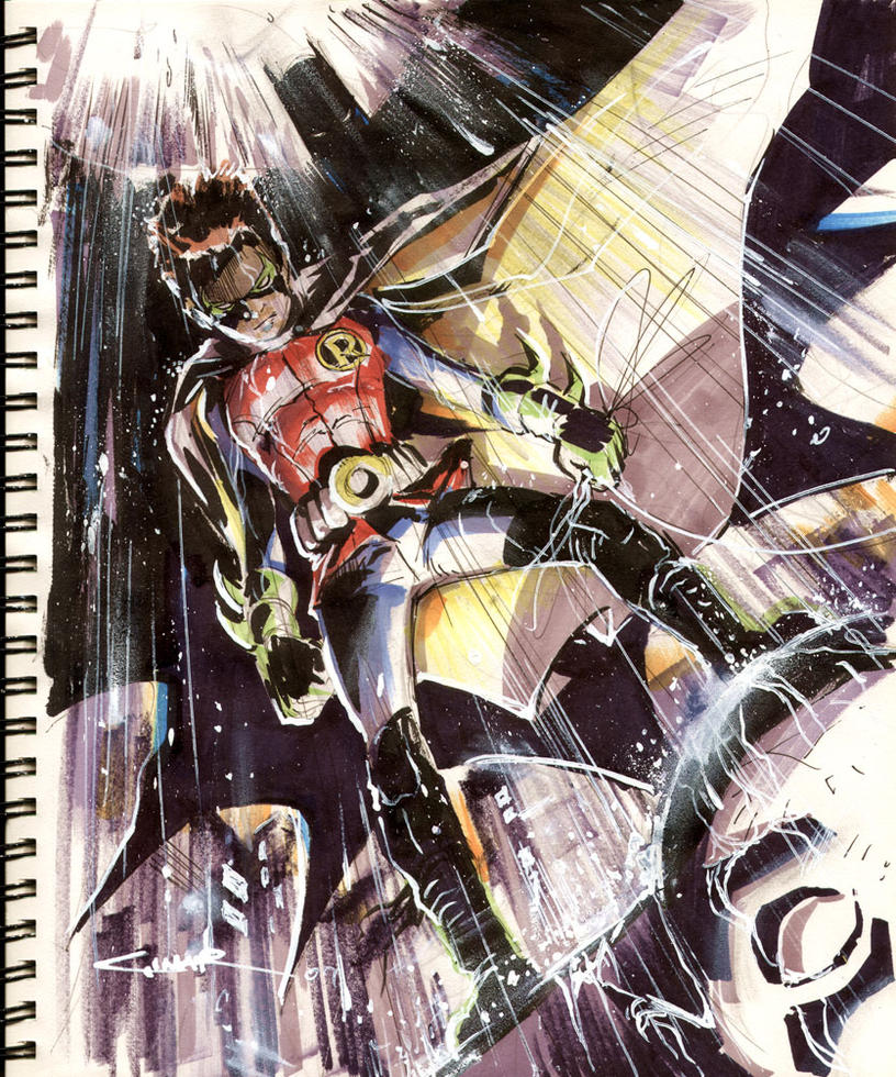 Sketch 25: Robin and Batman by Cinar