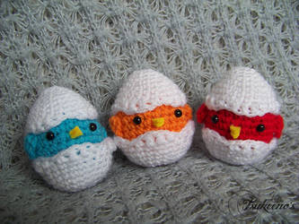 Blue, Orange and Red Eggs by Raichely