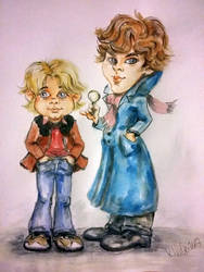 Sherlock and Watson cartoon by djinnie