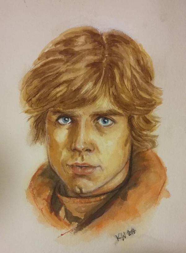 Luke Skywalker water color by djinnie