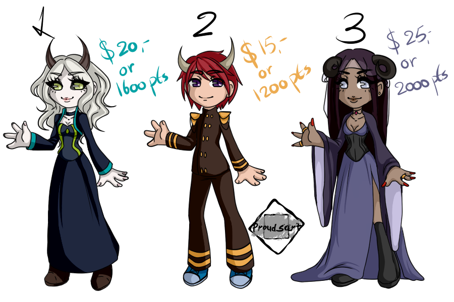 (OPEN) Demon Chibi Adoptables by Prouds-Art