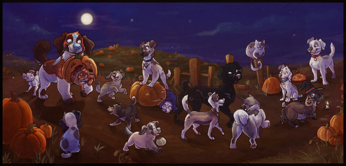 Puppy Pumpkin Patch by colonel-strawberry