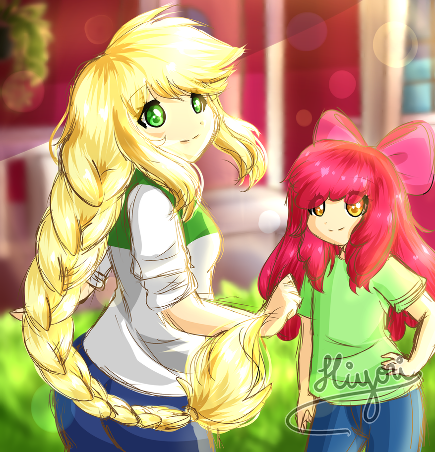 applejack_and_apple_bloom_by_hiyori_yama