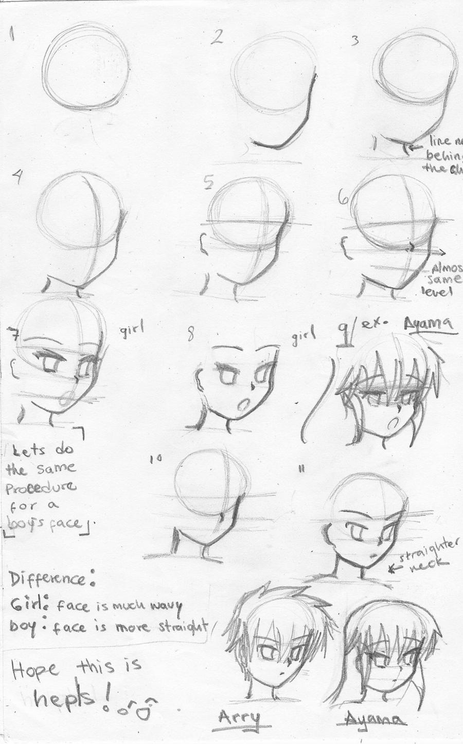 How To Draw Anime:manga Faces1 By Ayamachan22