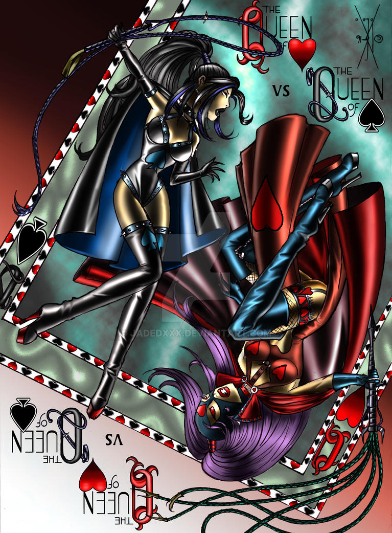 Queen of Hearts vs Queen of Spades: 180 degree by Jadedxxx