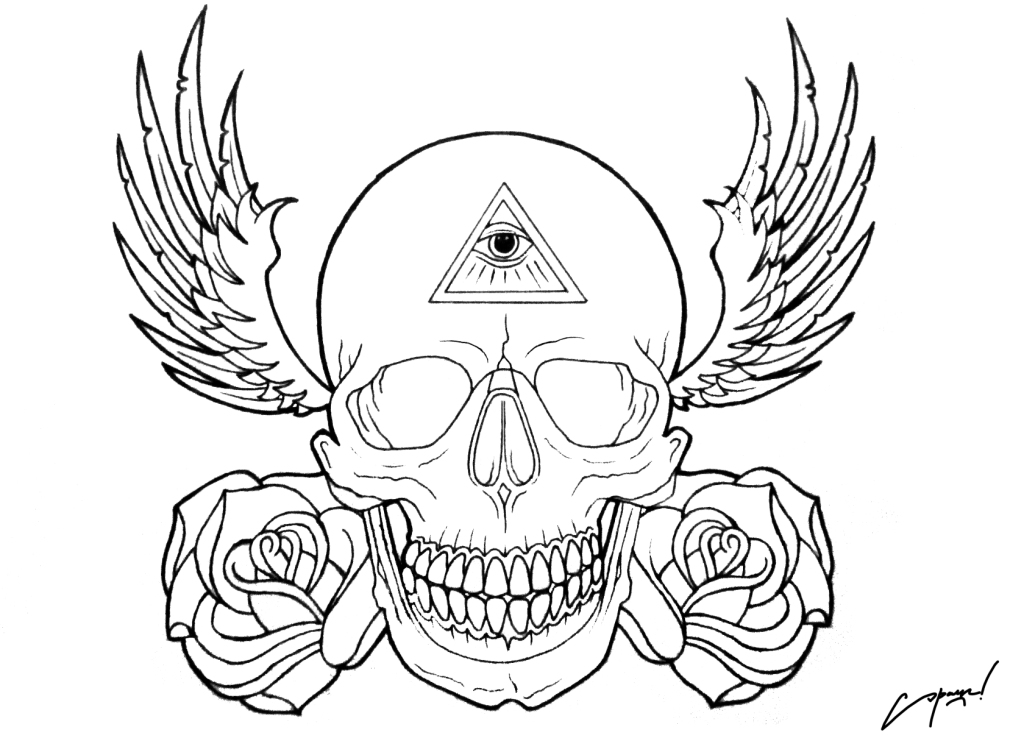 Tattoo Line Drawing Software : Tattoo flash skull by sparc on deviantart