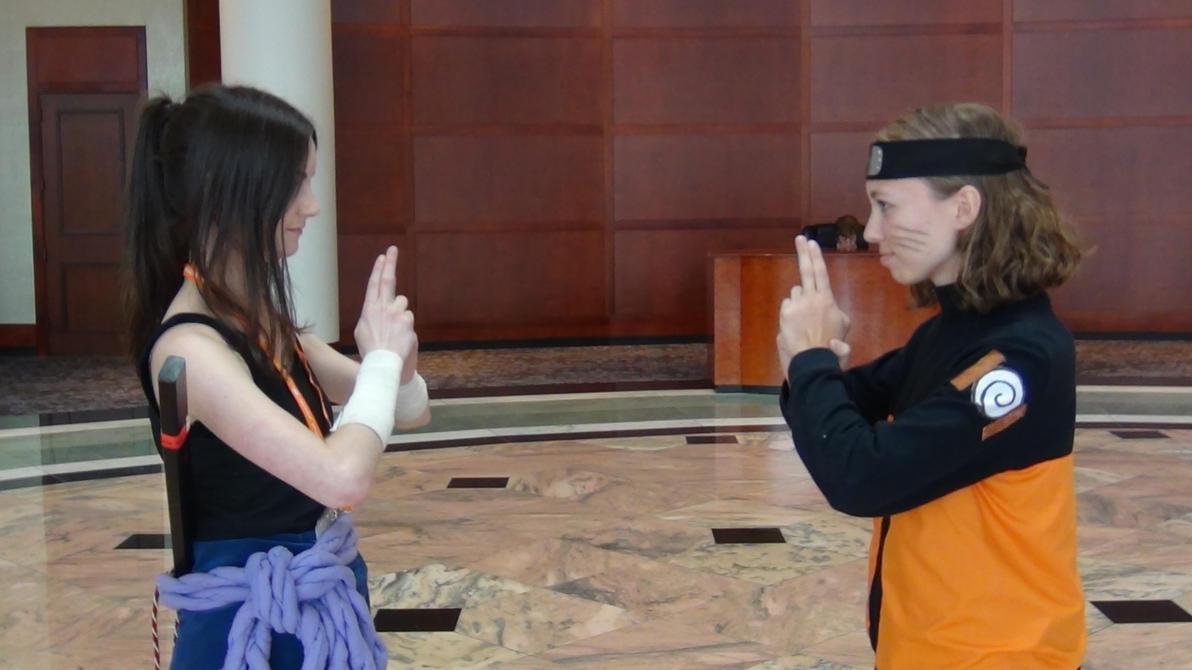 AWA 2014- Female Naruto and Sasuke- Jutsu by watercolos