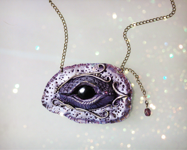Amythest Dragon Eye Necklace by PixiesLot