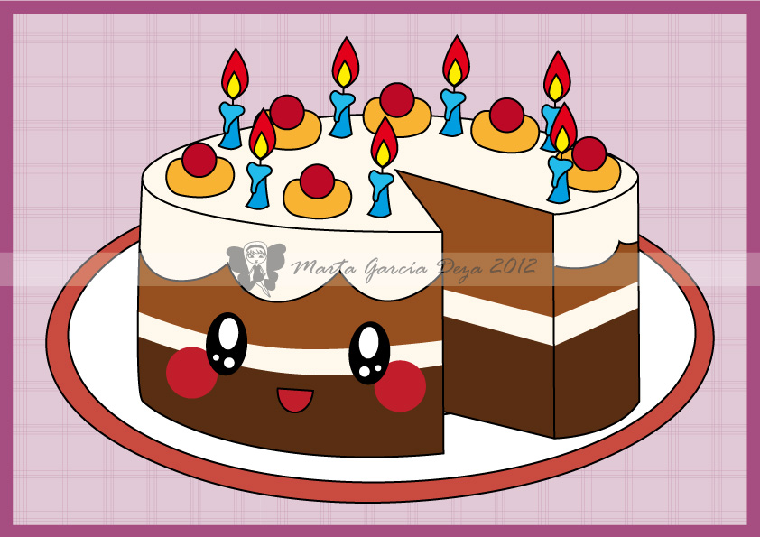 Kawaii Birthday Cake By Martagd On Deviantart
