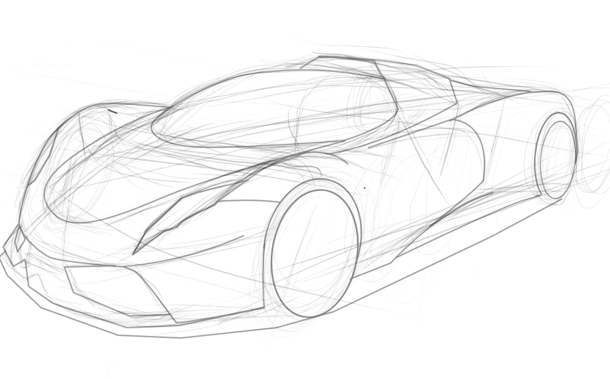 Supercar Concept Drawing And Illustration One Canvas