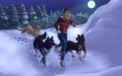 Boy running with wolves