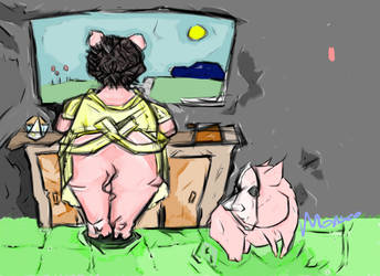 Piggly : Character Study 4, Birthday Prep by Monseo