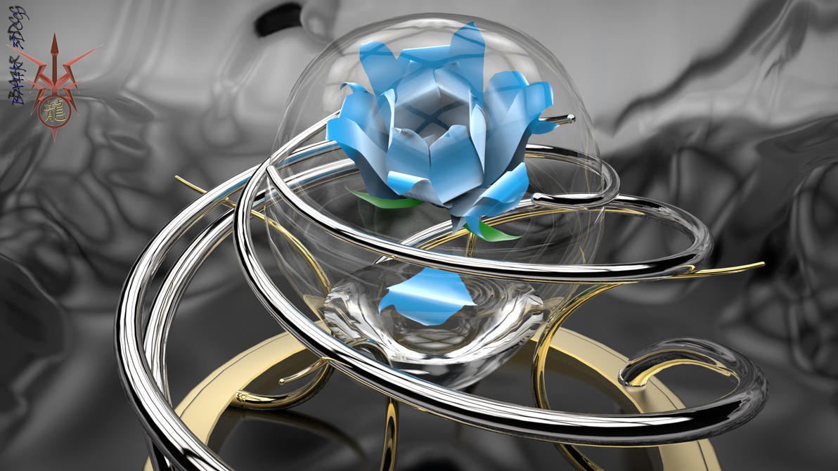 Suspended Blue Rose by Bahr3DCG