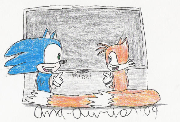 Sonic and Tails hanging out by Anna-aurion