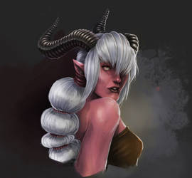 Tiefling Female painting by HuntingTown