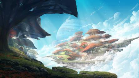 Floating Mushroom Island by TomPrante