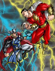 the battle in the heavens: Thor vs Captain marvel