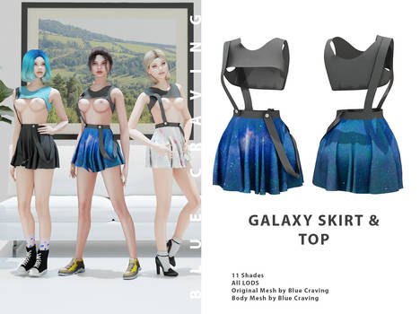 Galaxy skirt and crop top