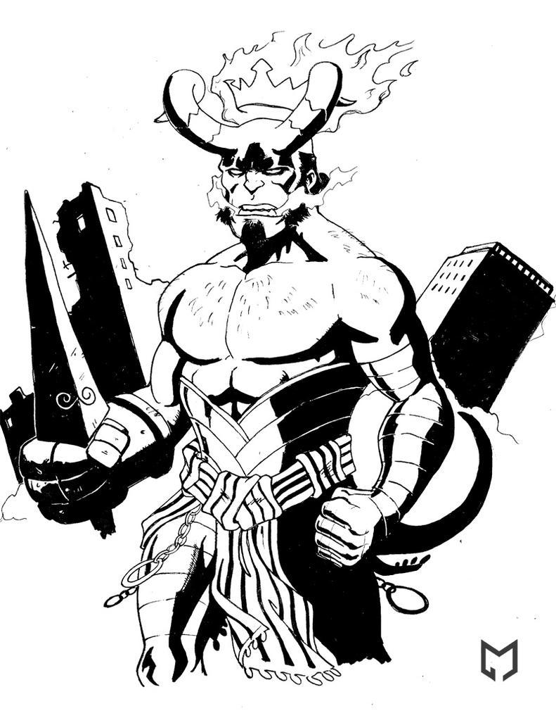 Coloring Pages Hellboy Coloring Pages hellboy the beast bw by mista m on deviantart m