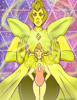 Steven Universe: Yellow Diamond and her Pearl by Mad--Pie