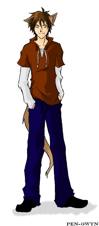 Anime Boy With Wolf Ears And Tail Drawing Pict Art