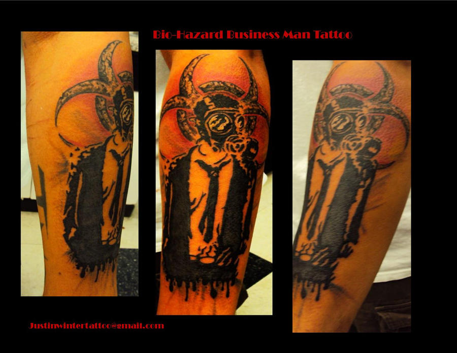 bio hazard business man tattoo by justinwinterdesign on deviantart. Black Bedroom Furniture Sets. Home Design Ideas