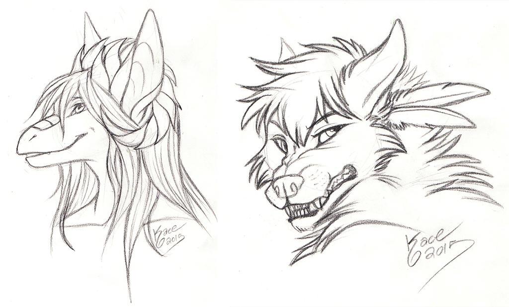 darkdragoon and neonpossum - Sketches by kcravenyote