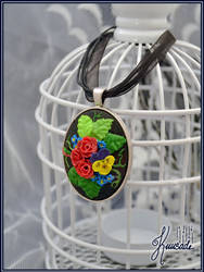 Clay embroidery - Flower bouquet cameo