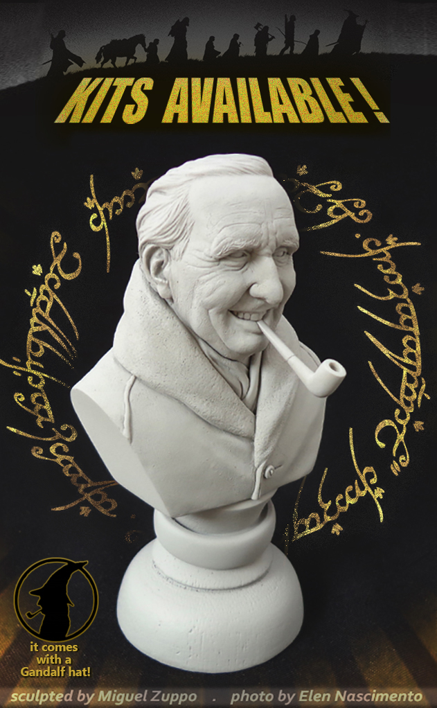 J.R.R.Tolkien mini bust (promo) by miguelzuppo